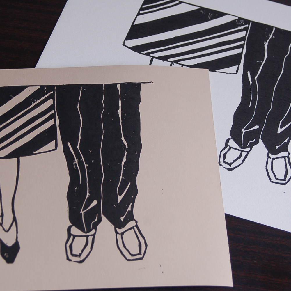 Linogravure kraft et papier blanc