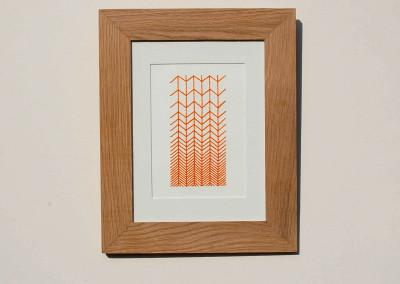 Broderie contemporaine sur papier aquarelle – «Chevron» par l'atelier VOLAPÜK