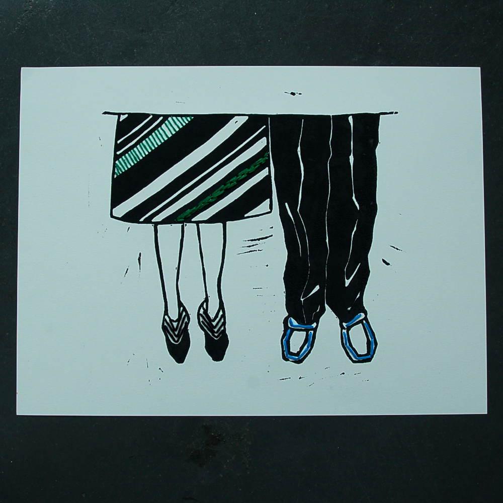 Madame et Monsieur linogravure n°1